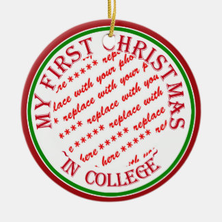 My First Christmas In College Photo Frame Ceramic Ornament