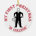 My First Christmas In College Round Ceramic Ornament