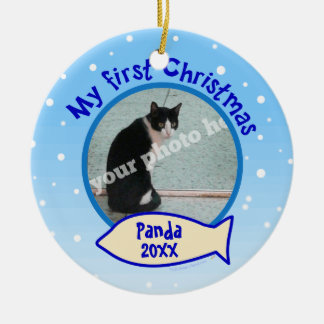 My First Christmas Personalized Photo Cat Ornament