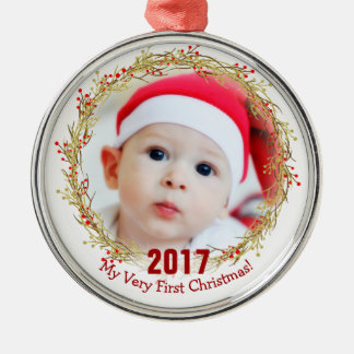My first christmas photo metal ornament
