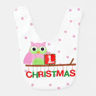My First Christmas Pink Owl Bib