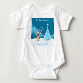 My First Christmas Reindeer Vest Baby Bodysuit