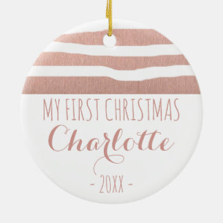 My First Christmas rose gold handrawn stripes Ceramic Ornament