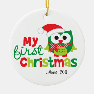 My First Christmas Santa Owl Ceramic Ornament
