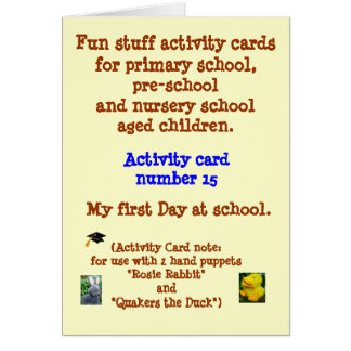 My first Day at School - Rhyme note card