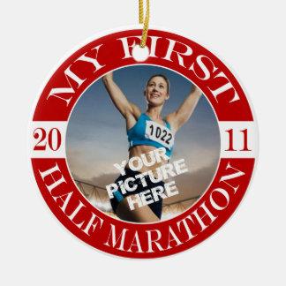 My First Half Marathon - 2011 Round Ceramic Ornament