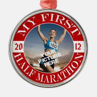 My First Half Marathon - Customizable Photo & Year Metal Ornament