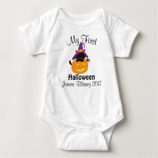 My First Halloween Pumpkin Cat Baby Bodysuit