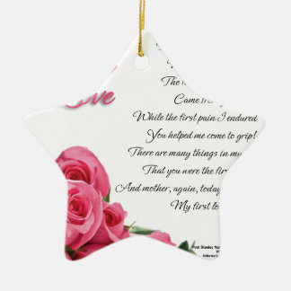 My First Love Poetry Art By Stanley Mathis Ceramic Ornament