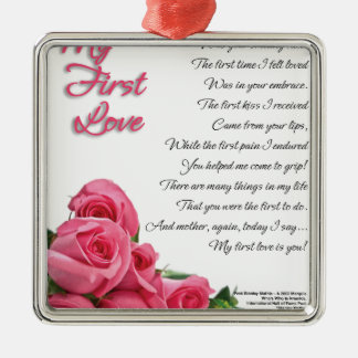 My First Love Poetry Art By Stanley Mathis Metal Ornament