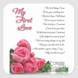 My First Love Poetry Art By Stanley Mathis Square Sticker