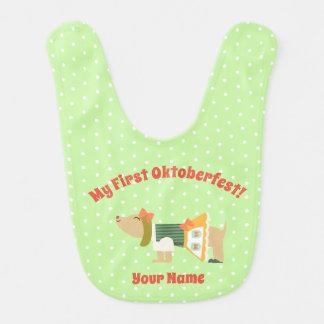 """""""My First Oktoberfest"""" Baby Bib with Cute Dog"""