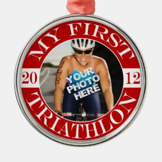 My First Triathlon - 2012 Silver-Colored Round Ornament