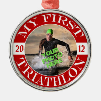 My First Triathlon - Customizable Photo and Year Silver-Colored Round Ornament