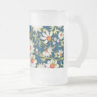 My Flowers On Blue Frosted Glass Beer Mug