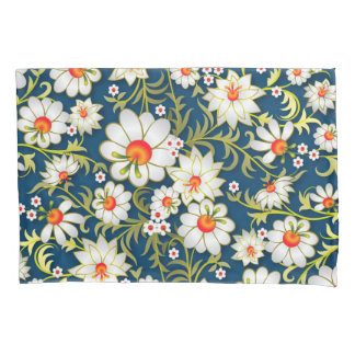 My Flowers On Blue Pillowcase