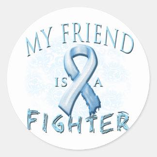 My Friend is a Fighter Light Blue Round Sticker