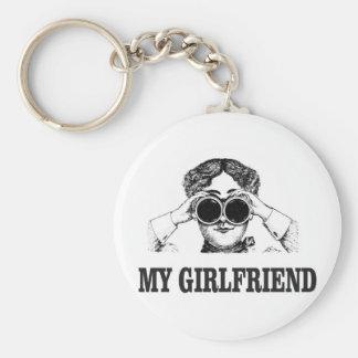 my girlfriend basic round button keychain
