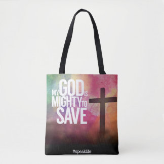 MY GOD IS MIGHTY TO SAVE TOTE BAG