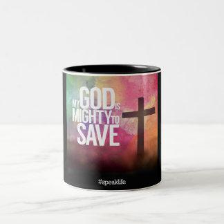 MY GOD IS MIGHTY TO SAVE Two-Tone COFFEE MUG