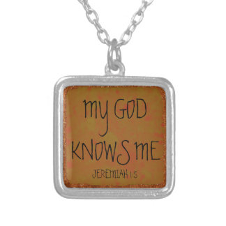 My God knows me bible verse Silver Plated Necklace