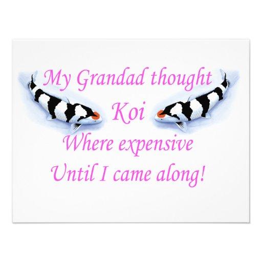 My Grandad thought Koi where expensive.....Pink! Custom Invitation