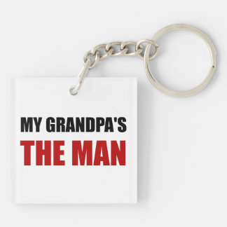 My Grandpa Is The Man Double-Sided Square Acrylic Keychain