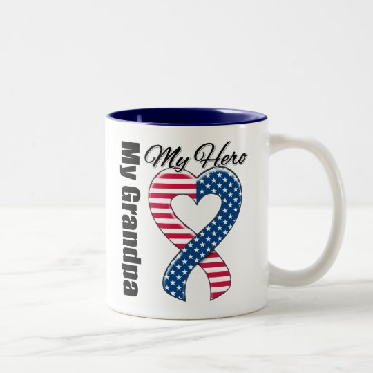 My Grandpa My Hero Patriotic USA Ribbon Two-Tone Coffee Mug
