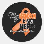 My Grandson is My Hero - Leukaemia Round Stickers