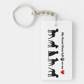 My Great Dane left Pawprints on my Heart Dog Pet Keychain
