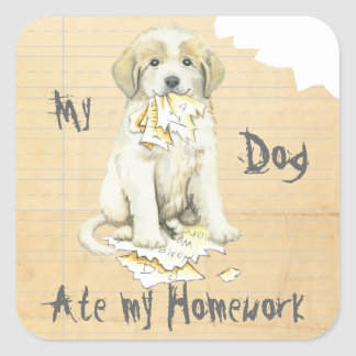 My Great Pyrenees Ate My Homework Square Sticker