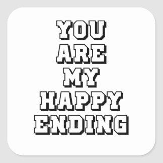 My happy ending square sticker
