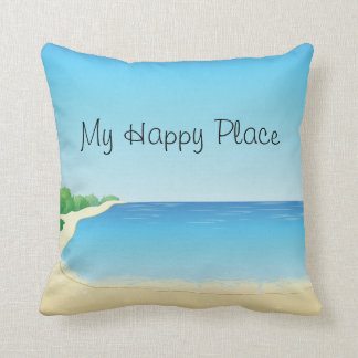 My Happy Place Beach Pillow
