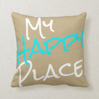 My Happy Place Beige, Turquoise Blue and White Throw Pillow