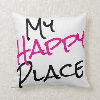 My Happy Place Black White Pink Throw Pillow