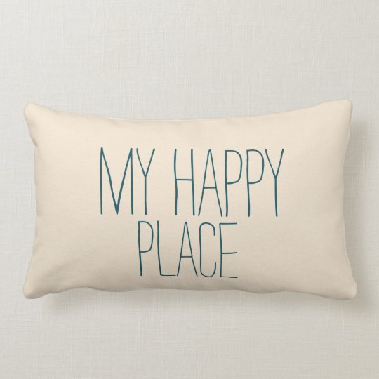 My Happy Place Blue and Beige Cute Sleeping Lumbar Pillow