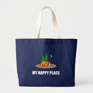 My Happy Place Camping Tent Large Tote Bag