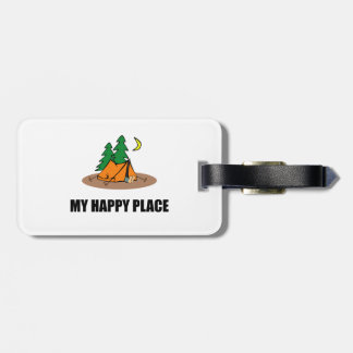 My Happy Place Camping Tent Luggage Tag