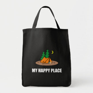 My Happy Place Camping Tent Tote Bag