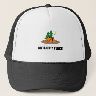 My Happy Place Camping Tent Trucker Hat