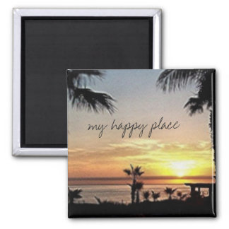 My happy place Mexico Square Magnet