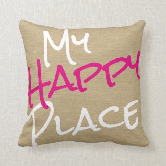My Happy Place Pink and White Canvas Print Throw Pillow