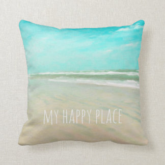 My Happy Place Turquoise Sky Beach Scene Throw Pillow