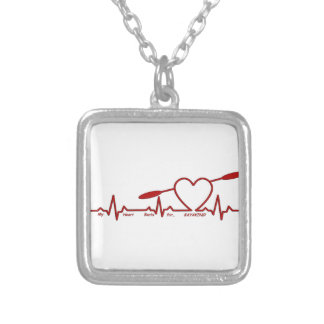 MY HEART BEATS FOR KAYAKING (CARDIOGRAM) SILVER PLATED NECKLACE