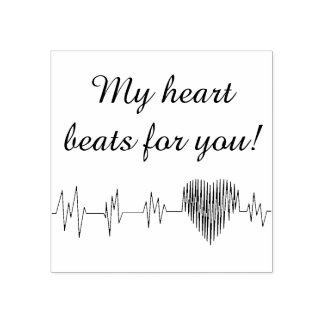 My heart beats for you rubber stamp