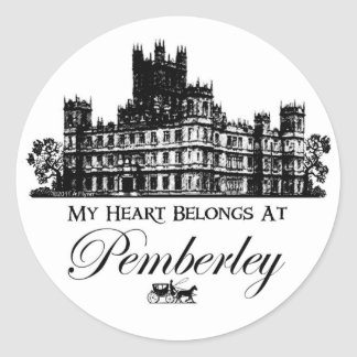 My Heart Belongs At Pemberley Round Sticker