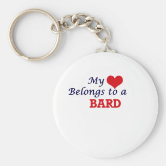 My heart belongs to a Bard Basic Round Button Keychain