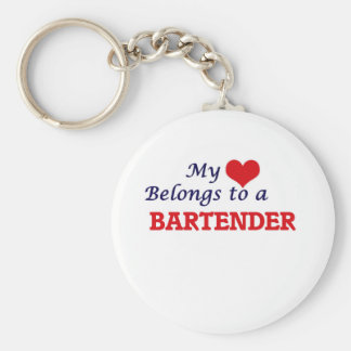 My heart belongs to a Bartender Basic Round Button Keychain