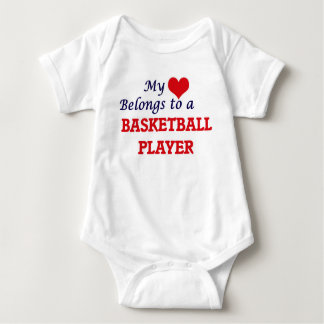 My heart belongs to a Basketball Player Baby Bodysuit