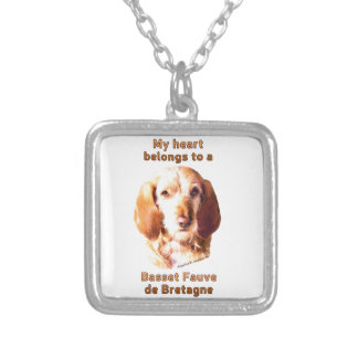 My Heart Belongs To A Basset Fauve de Bretagne Silver Plated Necklace